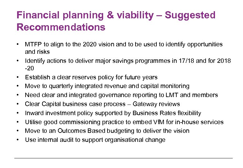 Financial planning & viability – Suggested Recommendations • MTFP to align to the 2020
