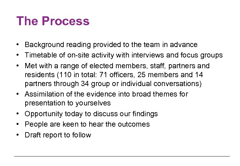 The Process • Background reading provided to the team in advance • Timetable of