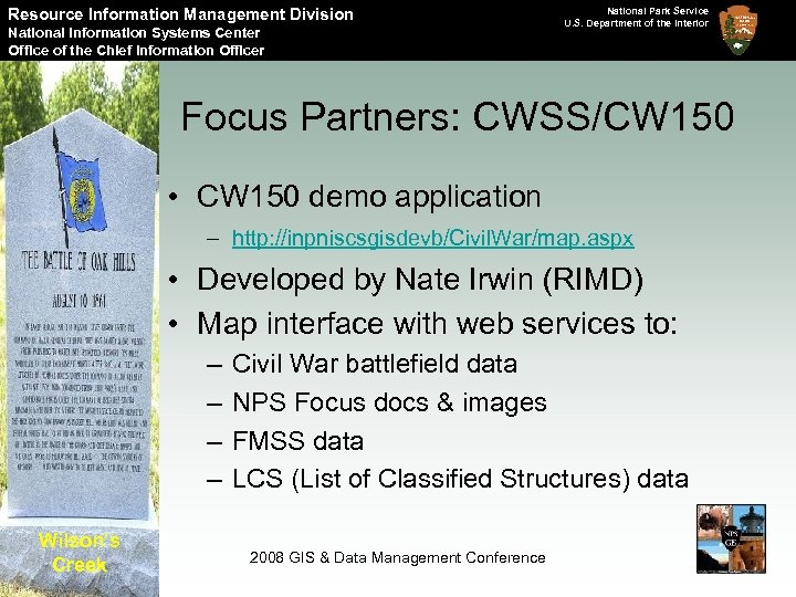 Resource Information Management Division National Information Systems Center Office of the Chief Information Officer