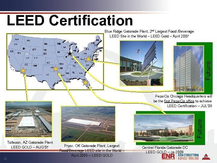 LEED Certification Future Blue Ridge Gatorade Plant, 2 nd Largest Food /Beverage LEED Site