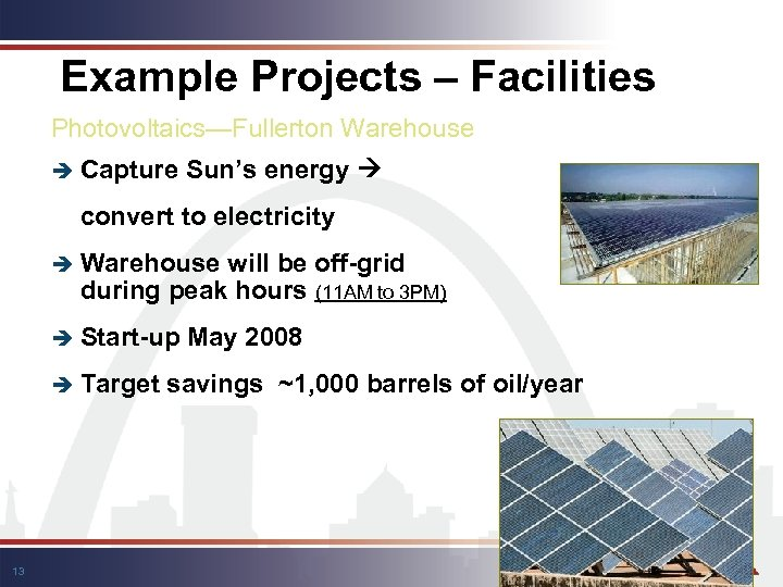 Example Projects – Facilities Photovoltaics—Fullerton Warehouse è Capture Sun's energy convert to electricity è