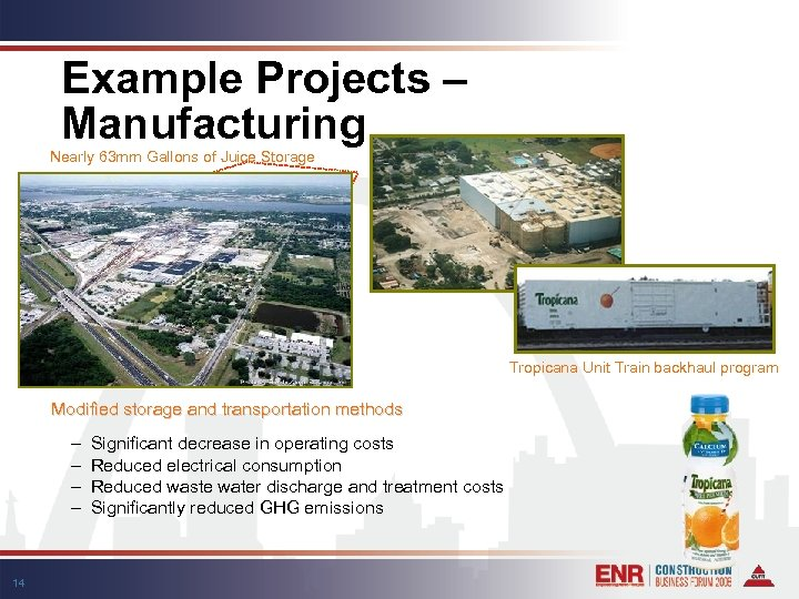 Example Projects – Manufacturing Nearly 63 mm Gallons of Juice Storage Tropicana Unit Train