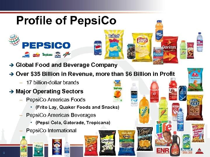 Profile of Pepsi. Co è Global è Over Food and Beverage Company $35 Billion