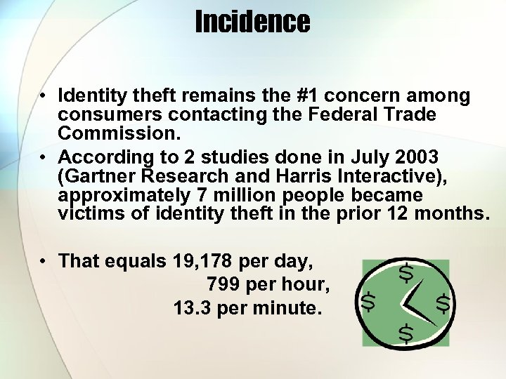 Incidence • Identity theft remains the #1 concern among consumers contacting the Federal Trade