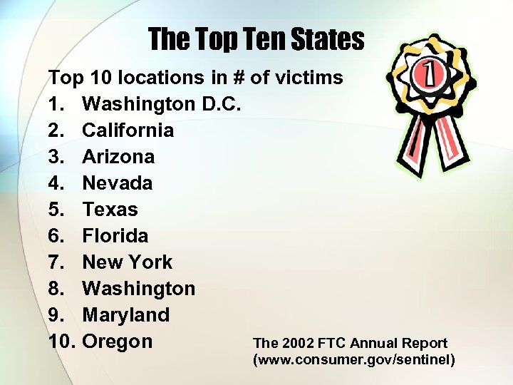 The Top Ten States Top 10 locations in # of victims 1. Washington D.