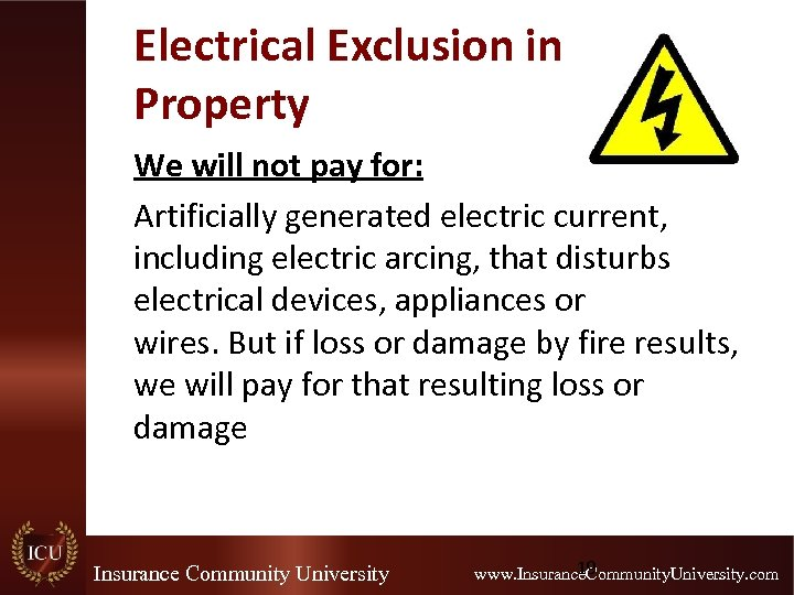 Electrical Exclusion in Property We will not pay for: Artificially generated electric current, including