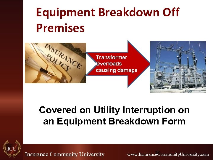 Equipment Breakdown Off Premises Transformer Overloads causing damage Covered on Utility Interruption on an