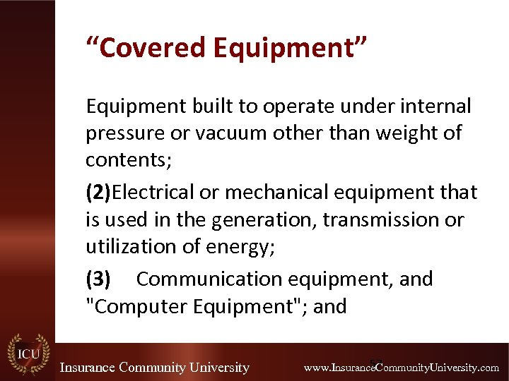 """""""Covered Equipment"""" Equipment built to operate under internal pressure or vacuum other than weight"""