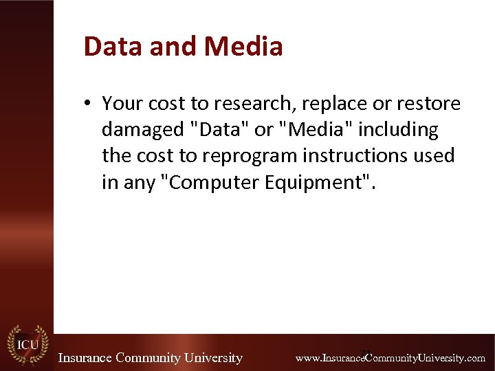 Data and Media • Your cost to research, replace or restore damaged