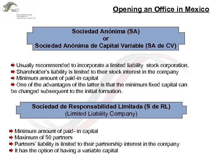 Opening an Office in Mexico Sociedad Anónima (SA) or Sociedad Anónima de Capital Variable