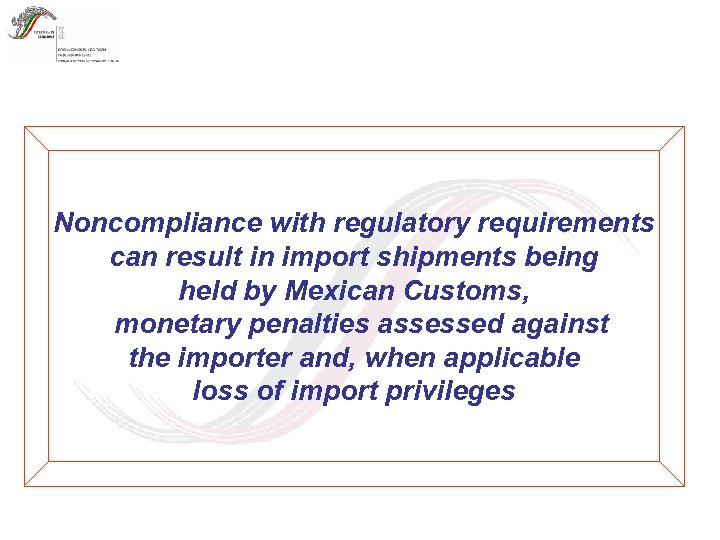 Noncompliance with regulatory requirements can result in import shipments being held by Mexican Customs,