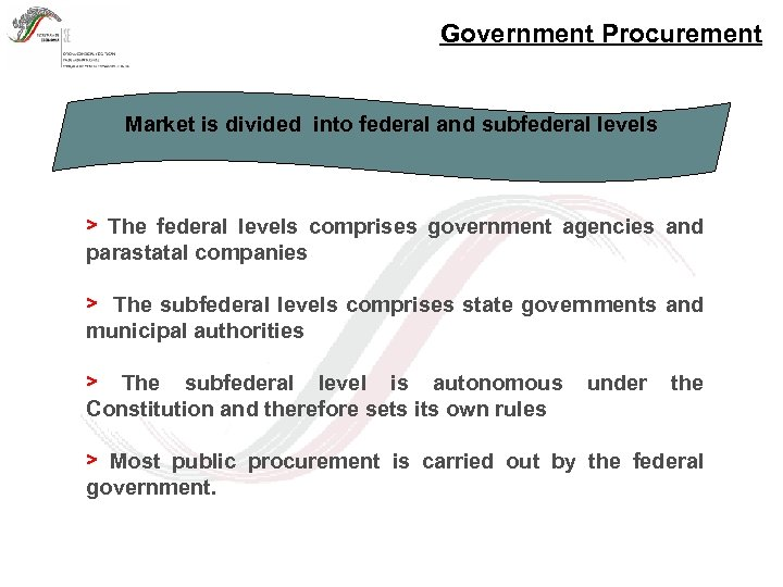 Government Procurement Market is divided into federal and subfederal levels > The federal levels
