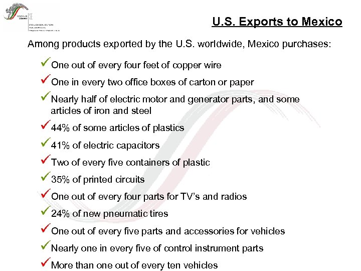 U. S. Exports to Mexico Among products exported by the U. S. worldwide, Mexico