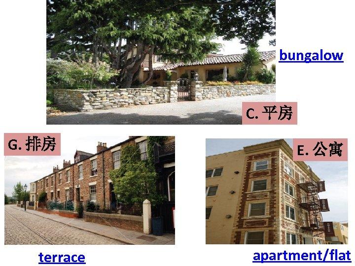 bungalow C. 平房 G. 排房 terrace E. 公寓 apartment/flat