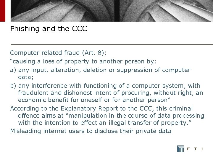 "Phishing and the CCC Computer related fraud (Art. 8): ""causing a loss of property"
