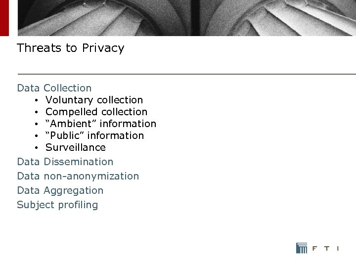 "Threats to Privacy Data Collection • Voluntary collection • Compelled collection • ""Ambient"" information"