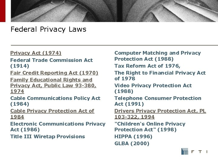Federal Privacy Laws Privacy Act (1974) Federal Trade Commission Act (1914) Fair Credit Reporting