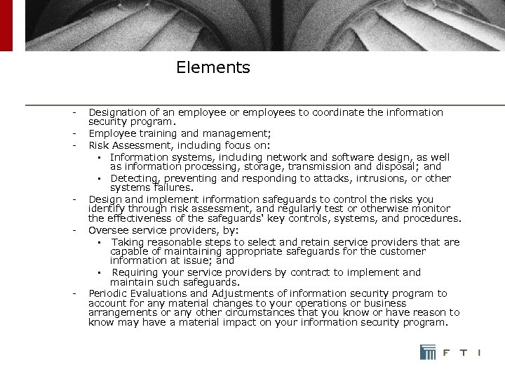 Elements - Designation of an employee or employees to coordinate the information security program.