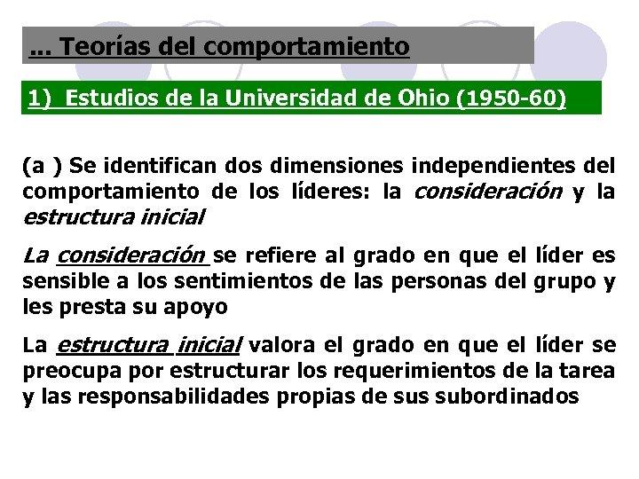 . . . Teorías del comportamiento 1) Estudios de la Universidad de Ohio (1950