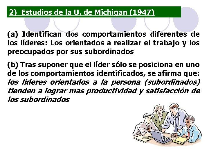 2) Estudios de la U. de Michigan (1947) (a) Identifican dos comportamientos diferentes de