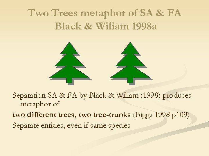 Two Trees metaphor of SA & FA Black & Wiliam 1998 a Separation SA