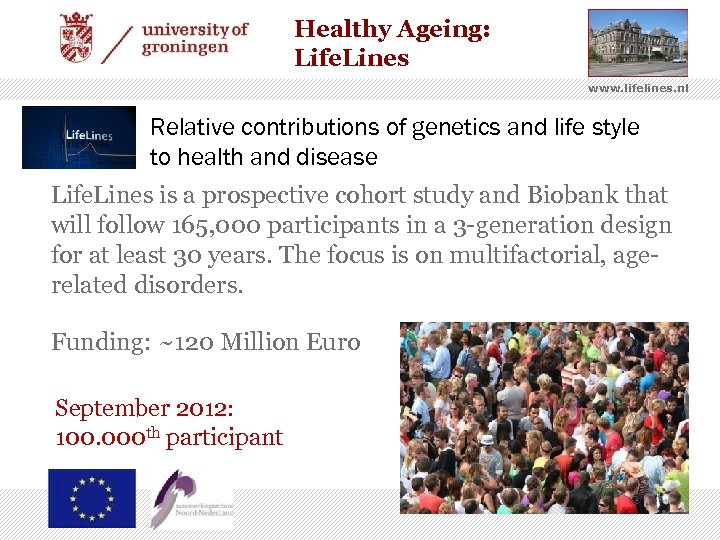 Healthy Ageing: Life. Lines www. lifelines. nl Relative contributions of genetics and life style