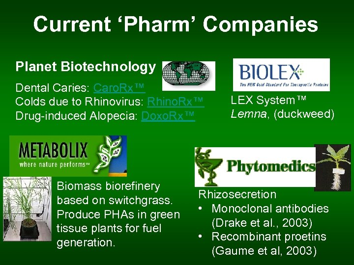 Current 'Pharm' Companies Planet Biotechnology Dental Caries: Caro. Rx™ Colds due to Rhinovirus: Rhino.