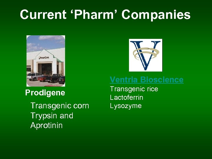 Current 'Pharm' Companies Ventria Bioscience Prodigene Transgenic corn Trypsin and Aprotinin Transgenic rice Lactoferrin