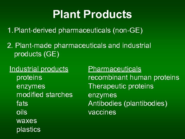 Plant Products 1. Plant-derived pharmaceuticals (non-GE) 2. Plant-made pharmaceuticals and industrial products (GE) Industrial