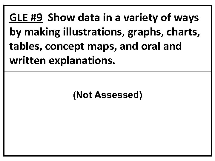 GLE #9 Show data in a variety of ways by making illustrations, graphs, charts,