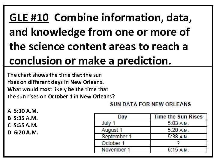 GLE #10 Combine information, data, and knowledge from one or more of the science