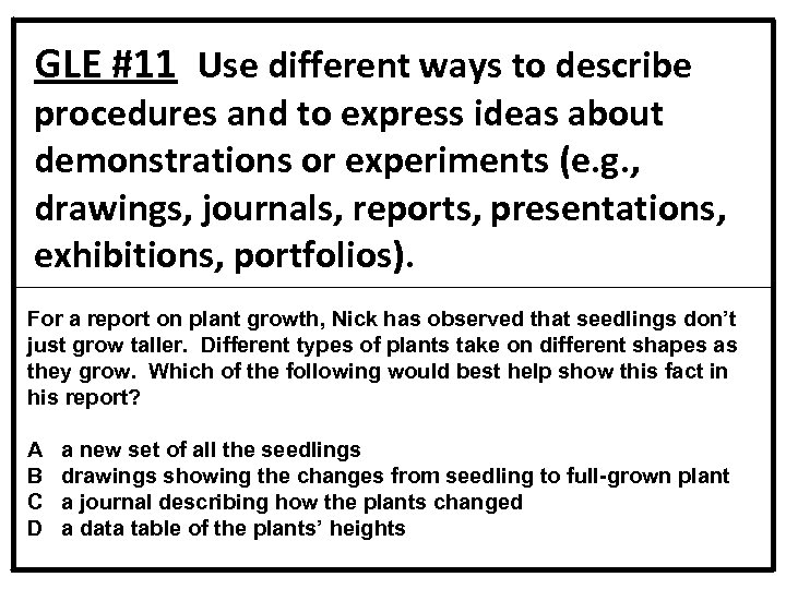 GLE #11 Use different ways to describe procedures and to express ideas about demonstrations