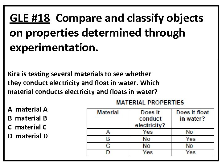 GLE #18 Compare and classify objects on properties determined through experimentation. Kira is testing