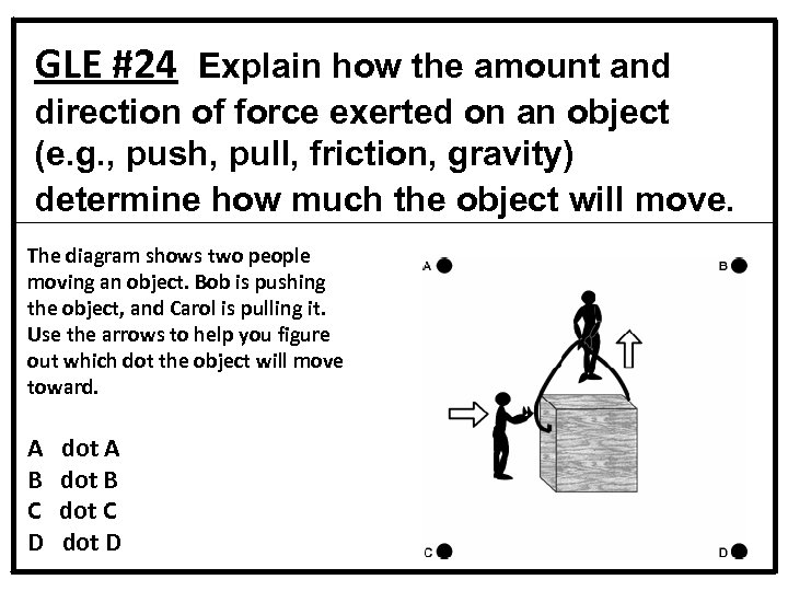 GLE #24 Explain how the amount and direction of force exerted on an object