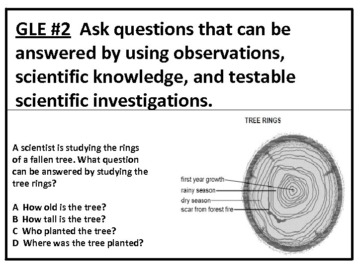 GLE #2 Ask questions that can be answered by using observations, scientific knowledge, and