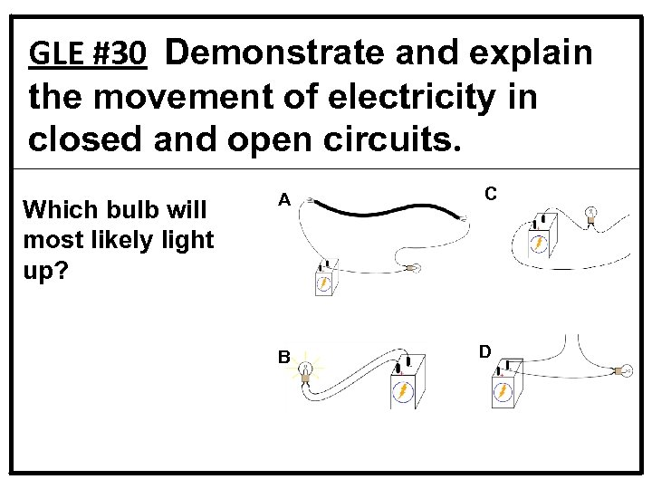 GLE #30 Demonstrate and explain the movement of electricity in closed and open circuits.