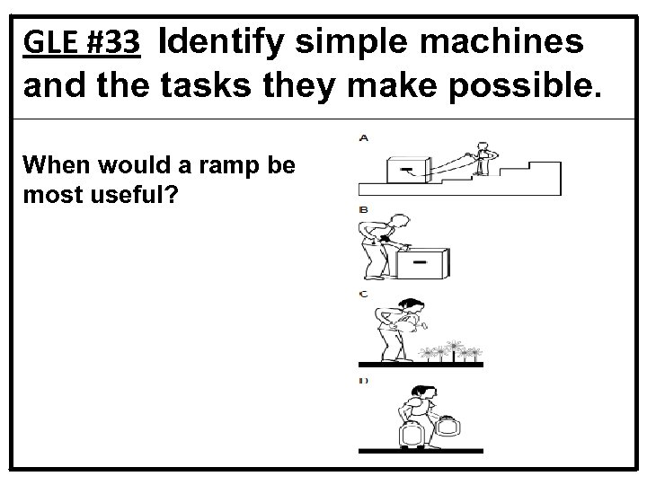 GLE #33 Identify simple machines and the tasks they make possible. When would a