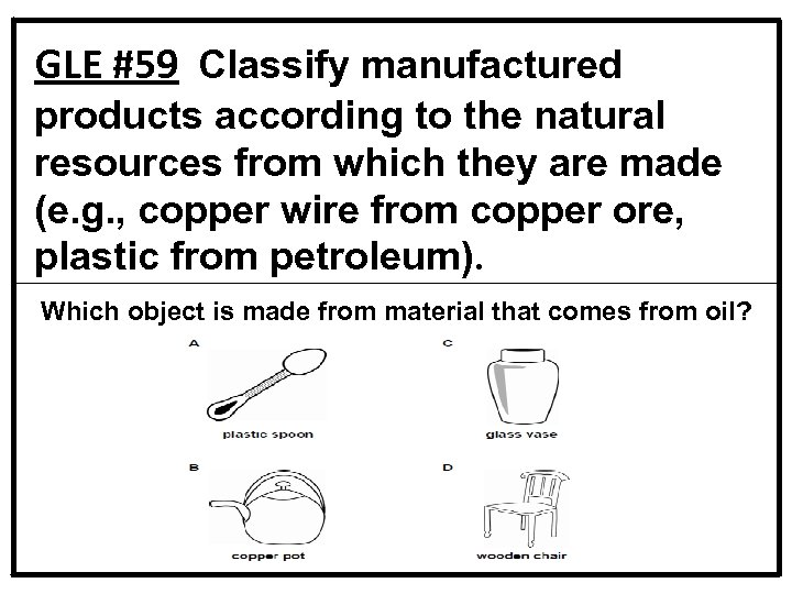 GLE #59 Classify manufactured products according to the natural resources from which they are