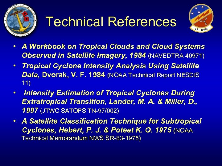 Technical References • A Workbook on Tropical Clouds and Cloud Systems Observed in Satellite