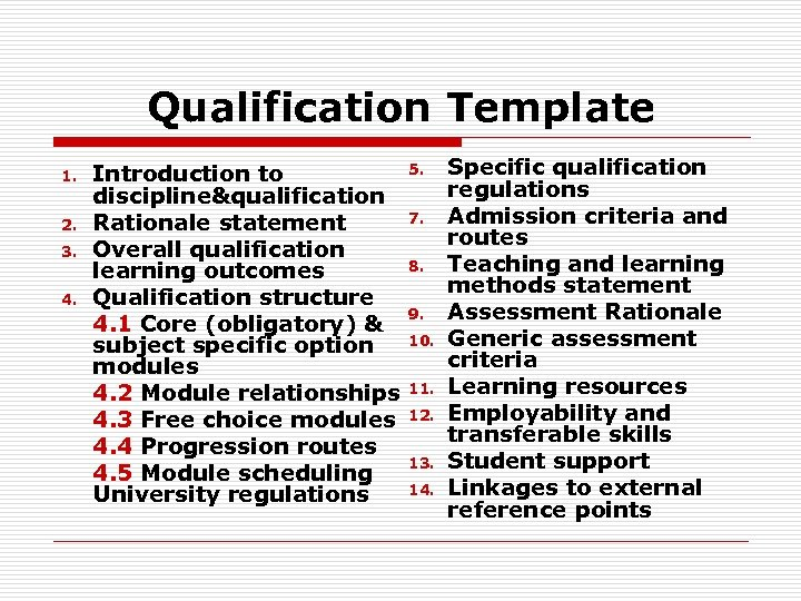 Qualification Template 1. 2. 3. 4. Introduction to discipline&qualification Rationale statement Overall qualification learning