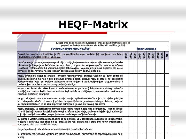 HEQF-Matrix