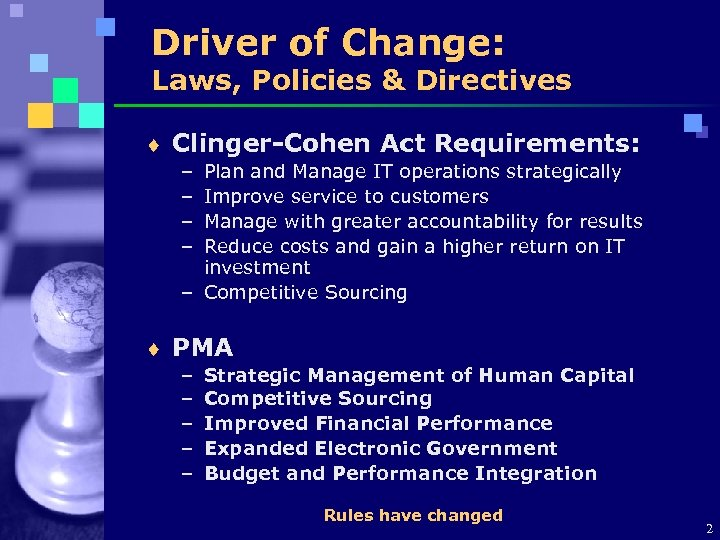 Driver of Change: Laws, Policies & Directives ¨ Clinger-Cohen Act Requirements: – – Plan