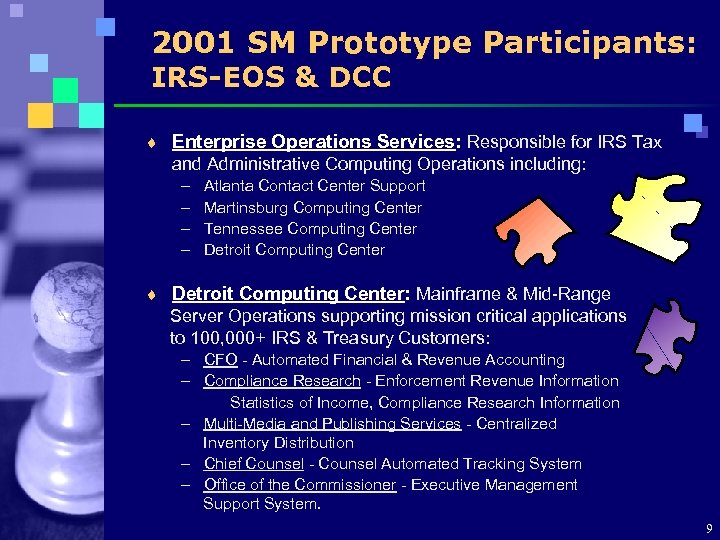 2001 SM Prototype Participants: IRS-EOS & DCC ¨ Enterprise Operations Services: Responsible for IRS