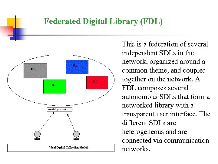 Federated Digital Library (FDL) This is a federation of several independent SDLs in the
