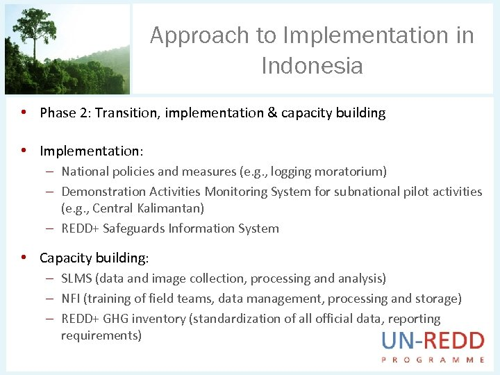 Approach to Implementation in Indonesia • Phase 2: Transition, implementation & capacity building •