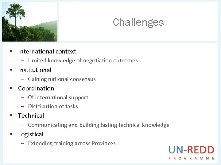 Challenges • International context – Limited knowledge of negotiation outcomes • Institutional – Gaining