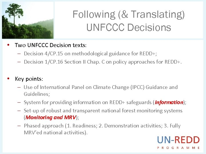 Following (& Translating) UNFCCC Decisions • Two UNFCCC Decision texts: – Decision 4/CP. 15