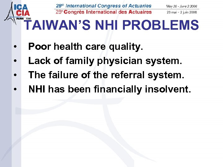 TAIWAN'S NHI PROBLEMS • • Poor health care quality. Lack of family physician system.