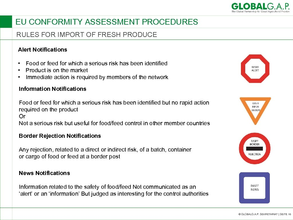 EU CONFORMITY ASSESSMENT PROCEDURES RULES FOR IMPORT OF FRESH PRODUCE Alert Notifications • Food