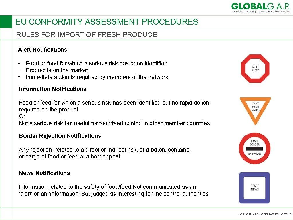 EU CONFORMITY ASSESSMENT PROCEDURES RULES FOR IMPORT OF FRESH PRODUCE Alert Notifications • Food